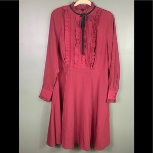 Eloquii Maroon Ruffle Long Sleeve Dress Size 14
